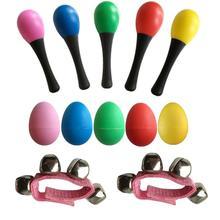 2 Maracas & 5 Egg Shakers & 5 Wrist Bells Musical Toys Mini Band Musical Instruments Rhythm Toys