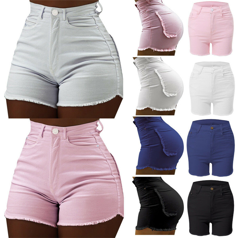 Fashion Women Casual High Waisted Short Mini Button Short Pants Summer Sexy Solid Beach Shorts