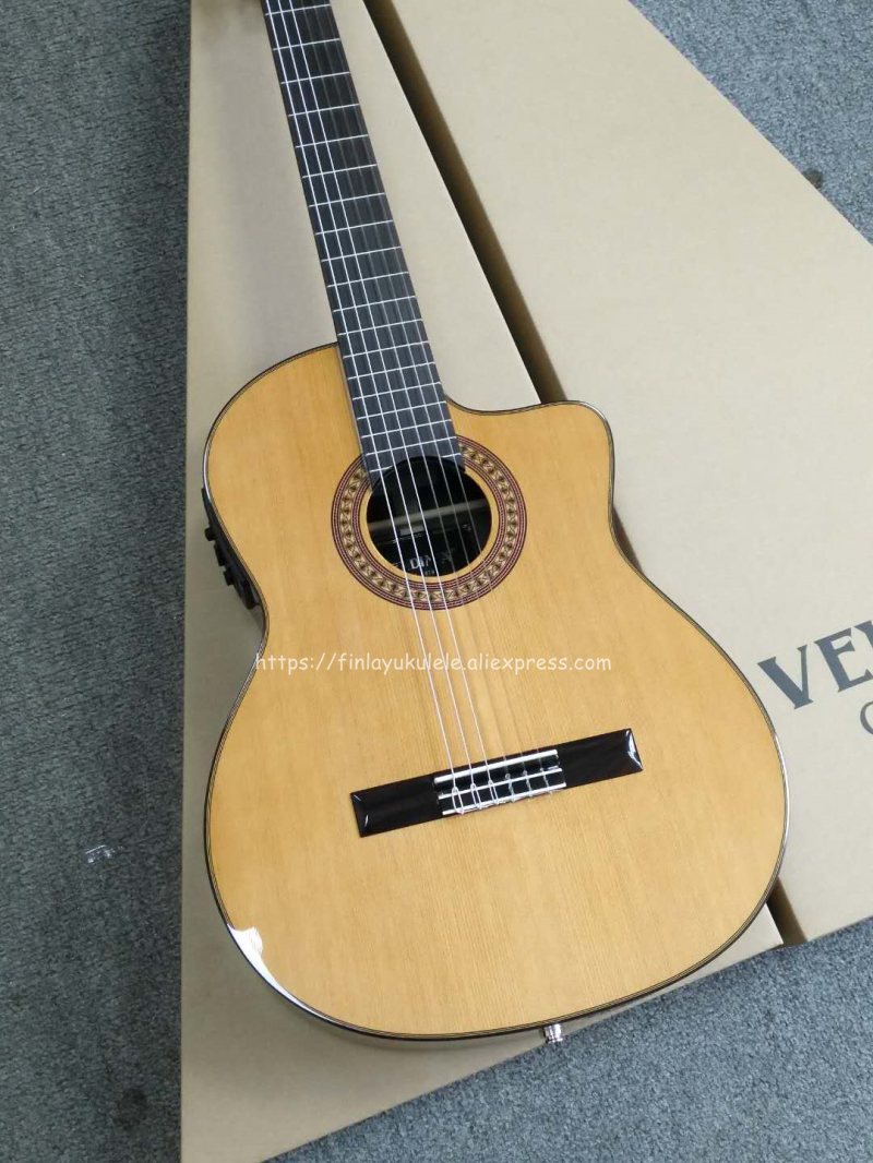 39 inch Cutaway Handmade Electric Spanish guitar,VENDIMIA Solid Cedar//Rosewood,Solid Spruce Classical guitar With pickup tuner