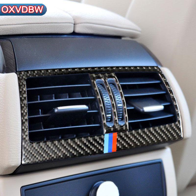 Carbon Fiber Car Rear Air Conditioning Outlet Frame Decor Back AC Vents Trim Refit Stickers for bmw e70 e71 X5 X6 2008-2019