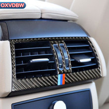 hot deal buy carbon fiber car rear air conditioning outlet frame decor back ac vents trim refit stickers for bmw e70 e71 x5 x6 2008-2013