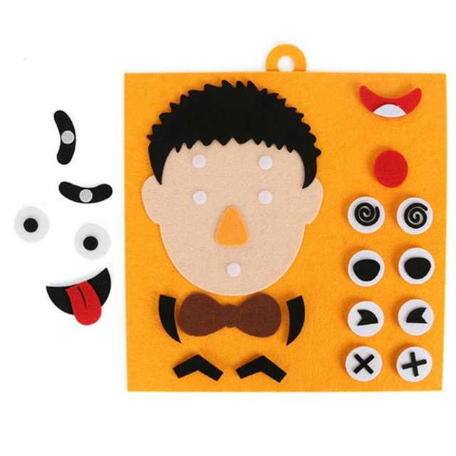 US $3 85 35% OFF DIY Emotion Change Puzzle Toys Creative Cute Facial  Recognition Expression Felt kids Toys For Children Educational Learning  Sets-in