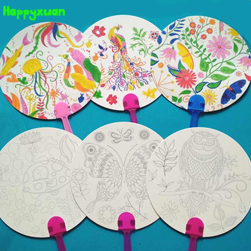 Happyxuan 12pcs DIY Coloring Kids Cartoon Hand Fan Paper Art Craft Material  For Kindergarten Preschool Drawing Toy Kids Gifts|Drawing Toys- AliExpress