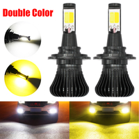 9005 9006 LED Car Fog Lamp Bulbs H3 H7 H11 880 LED COB Chips Dual Color 6000K White 3000K Amber Yellow switch Auto Driving Light