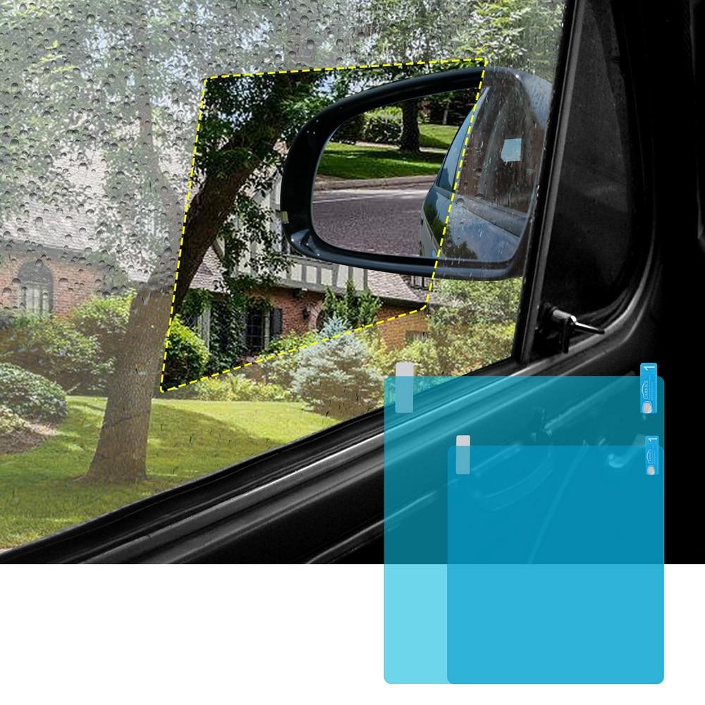 Forauto 2 peças/set película protetora da janela lateral do carro anti membrana da névoa anti-reflexo impermeável à prova de chuva etiqueta do carro filme claro