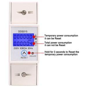 Image 2 - Szyna Din jednofazowy watomierz pobór mocy Watt elektroniczny licznik energii kWh 5 80A 230V AC 50Hz z funkcja resetowania