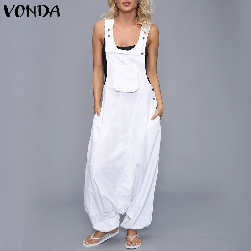 VONDA   Jumpsuits   Womens Rompers 2019 Summer Casual Cotton Harem Pants Vintage Trousers Sexy Sleevelss Long Playsuits Plus Size