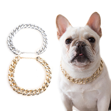 Łańcuch przekąskowy dla małych psów Teddy buldog francuski naszyjnik srebrzyste/złote akcesoria dla zwierząt obroża dla psa