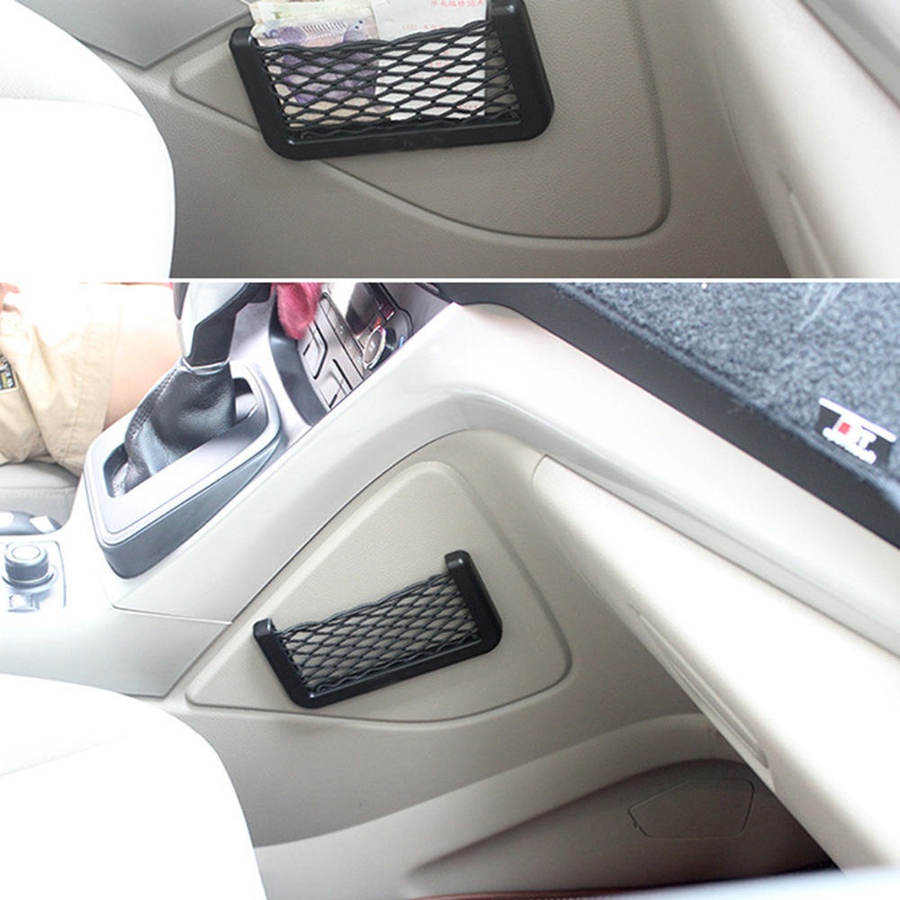Just Car Portable Net Pocket Car Stickers Self-sticking Firm Car Door Seat Auto Storage For Phone For Audi Bmw Car Accessories Street Price
