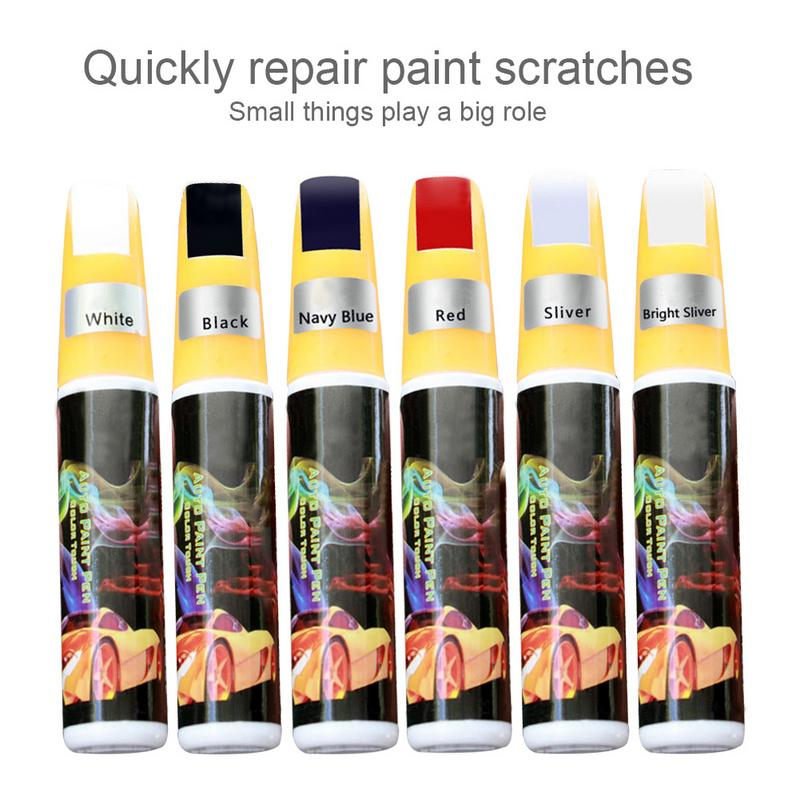 6 Color Options Car Surface Scratch Removal Repair Pen Paint Coating Repair Brush Blue Red Black White Bright-Silver Silver