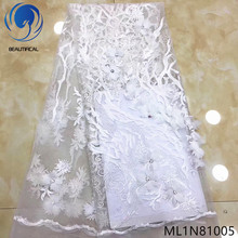 BEAUTIFICAL white wedding lace fabric 3d flower 5 yards/lot french material with beads ML1N810