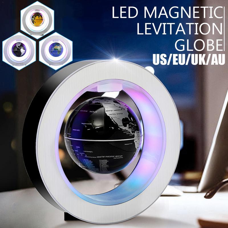 C forme lévitation magnétique Montessori géographie Globe flottant monde carte Tellurion LED lumières cadeaux maison bureau ornements décor