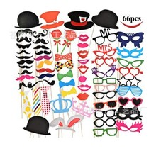 66pcs DIY Photo Booth Props Funny With A Bamboo Stick Moustache Party