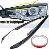 2pcs Car Headlight Eyelids Eyebrows Carbon Fiber Pattern for Mitsubishi Lancer EVO X 10 2008 2014 Car Styling
