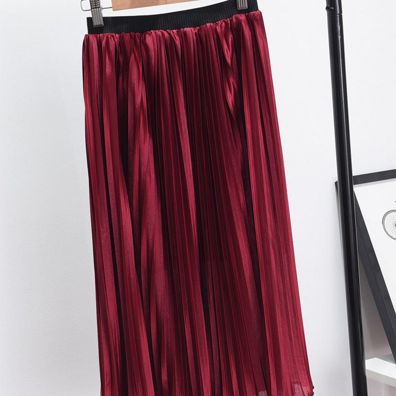 2018 Pleated Mid-length Skirt Female Elastic Waist Chiffon Pleated Skirt In The Long Section