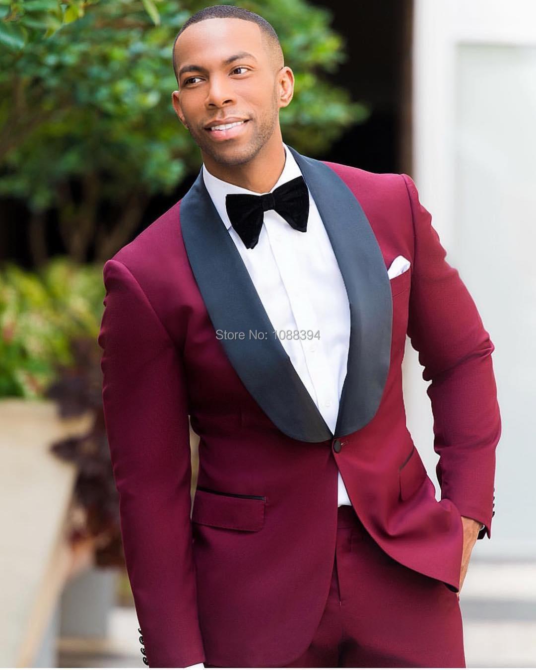 2019 Men Suits With Pants Burgundy Groom Wear Tuxedos 2 Piece Set Wedding Suits Groomsmen Best Man Formal Business Suit For Men