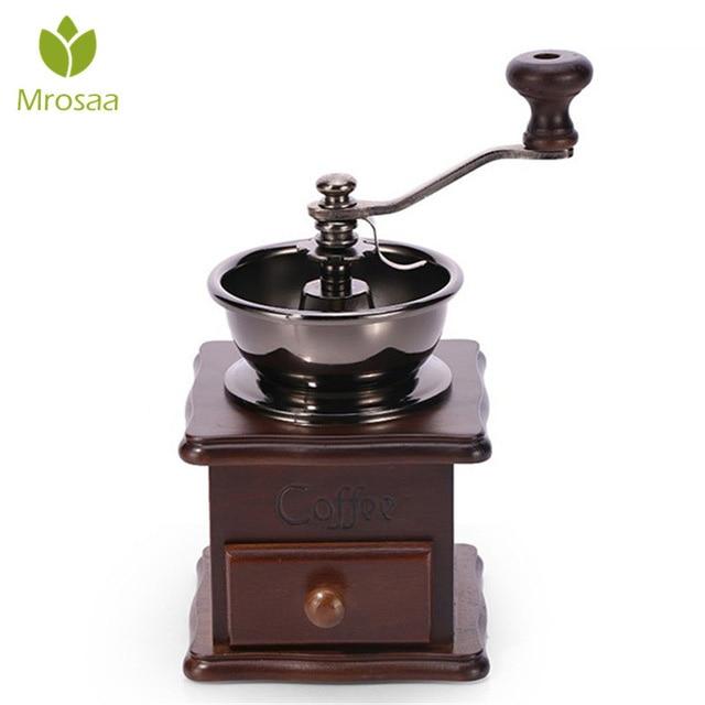 Qualidade superior de madeira clássica manual café moedor mão aço inoxidável retro café spice mini moinho rebarba com cerâmica millston
