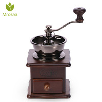Top Quality Classical Wooden Manual Coffee Grinder Hand Stainless Steel Retro Coffee Spice Mini Burr Mill With Ceramic Millston|Manual Coffee Grinders| |  -