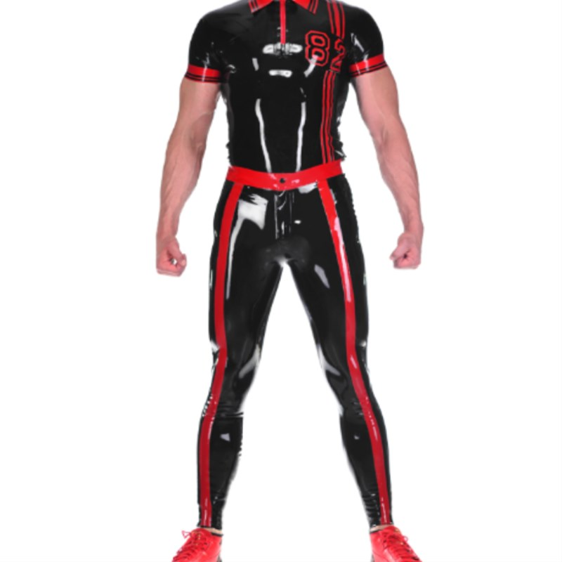 Latex 100% Rubber Uniform Suit Short Sleeve Coat Sexy Black with Red Policeman Wetlook Color Unisex Customized Size XXS-XXL