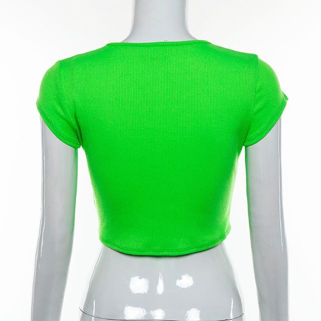 AIUJXK verano neón verde acanalado camiseta mujer 2019 nueva llegada Camiseta de manga corta Slim Crop Tops mujer Casual ropa