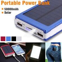 Светодио дный свет Мощность Банк Внешний двойной USB Батарея заряд 50000 mAh Панели Солнечные с переходник для зарядного устройства переносной открытый