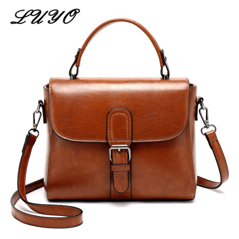 2019 Vintage Genuine Leather Cowhide Luxury Handbags Women Messenger Bags Designer Small Shoulder Summer Bag Famous Brand Female