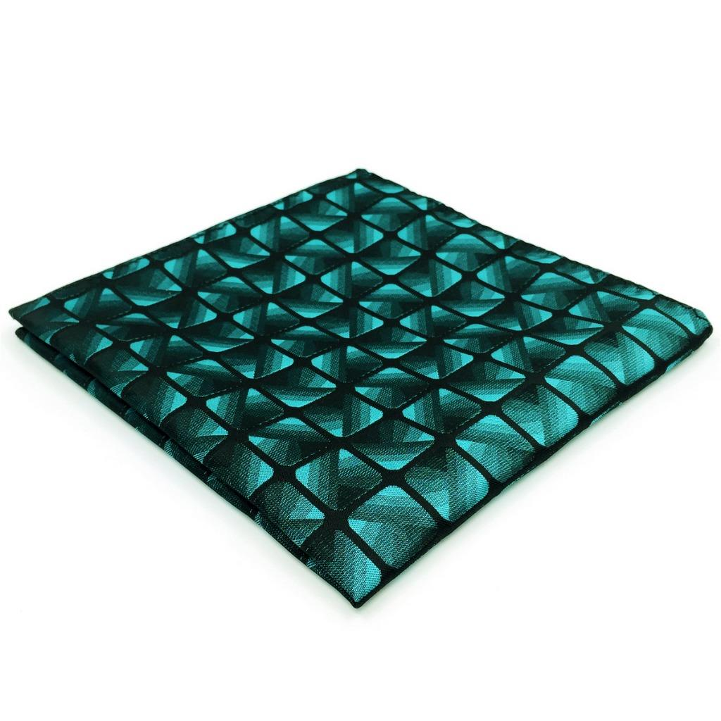 EH10 Teal Blue Green Checkes Silk Mens Pocket Square Fashion Classic Groom Dress Hanky