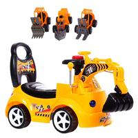 Children's Electric Excavator Scooter Toy with Music Engineering Car Model