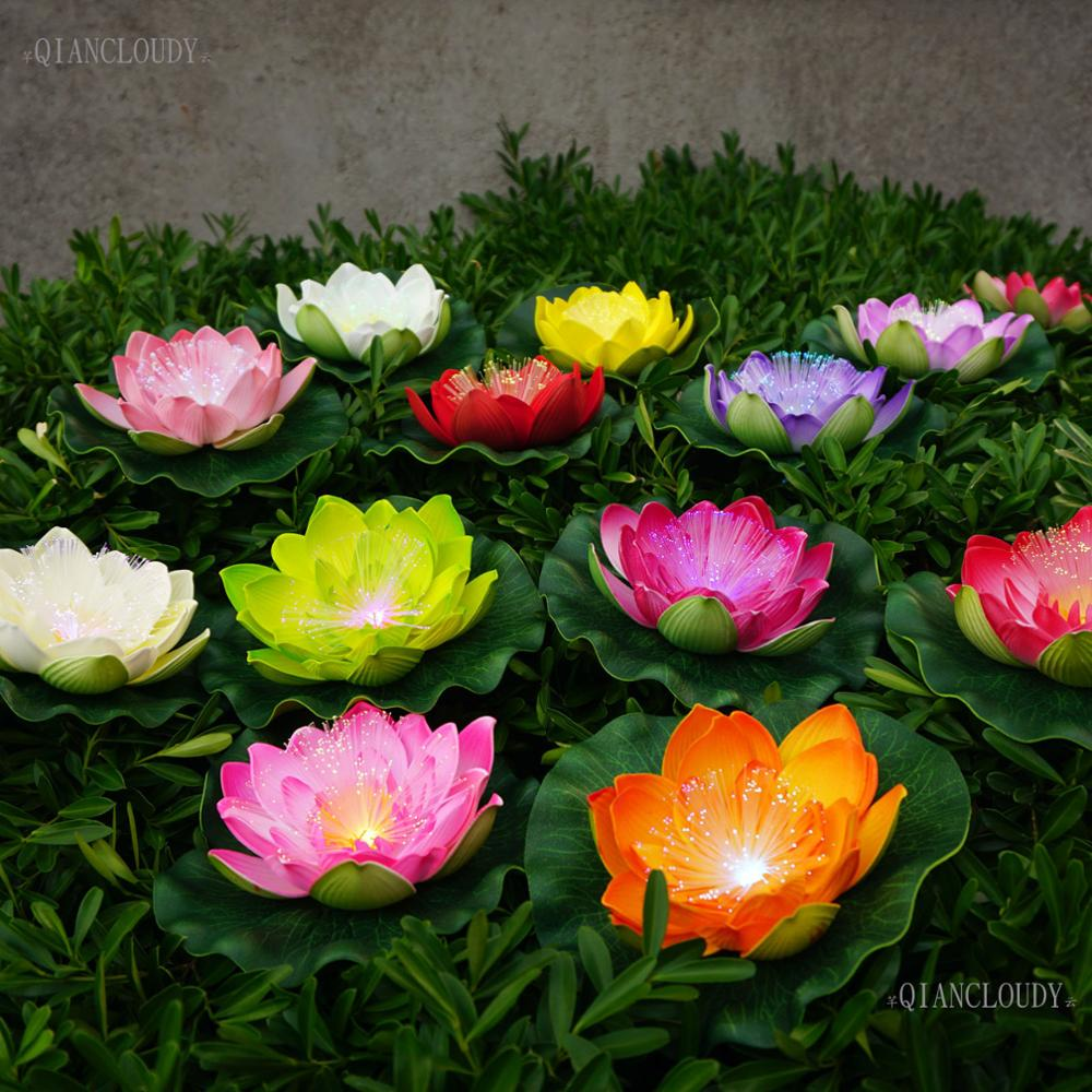 12 pieces Artificial LED Optic fibre Light Fake Lotus Leaf flowers Lily waterproof pond flower wedding