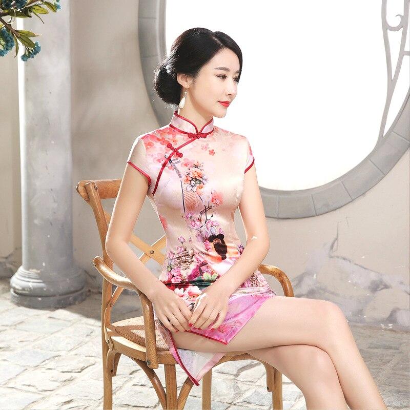 Pink Sexy Chinese Dresses Silk Mini Qipao Short New Pattern Restore Ancient Fashion Air Short Improvement Cheongsam Thin Summer