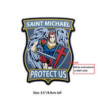 "3.5"" Saint Michael Protect Us Morale Patch SWAT Embroidered Patches For clothing Iron on Emblem badge Biker Vest Jacket Hat"