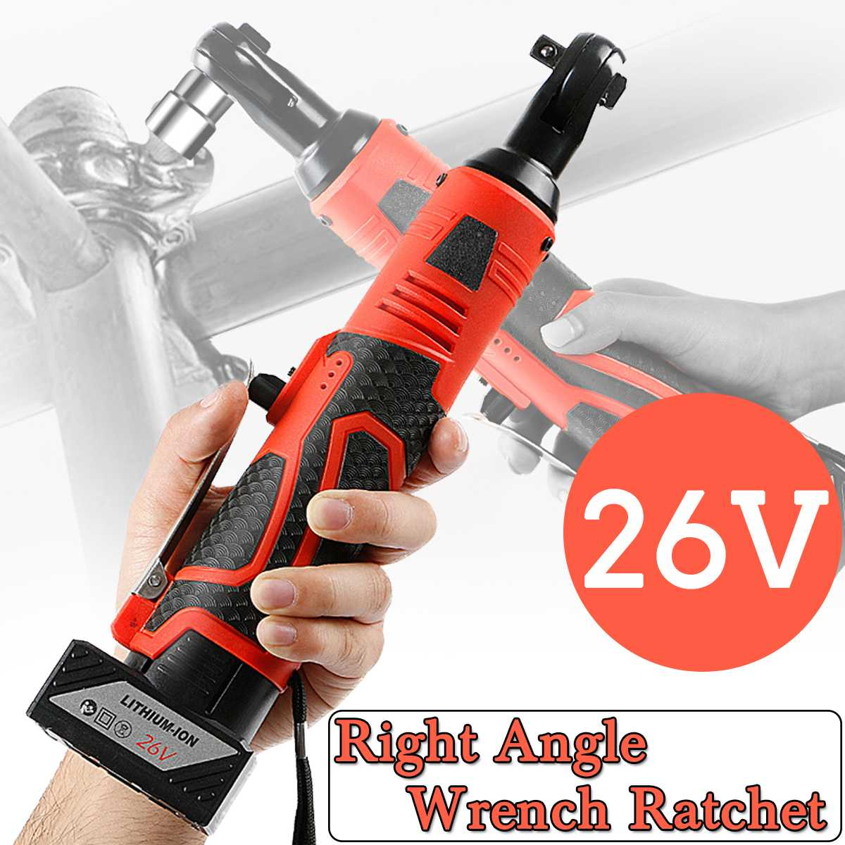 26V 3/8 Inch Electric Ratchet Wrench Cordless Electric Wrench Lithium Battery Right Angle Wrench with Led Light Car Repair Tool26V 3/8 Inch Electric Ratchet Wrench Cordless Electric Wrench Lithium Battery Right Angle Wrench with Led Light Car Repair Tool