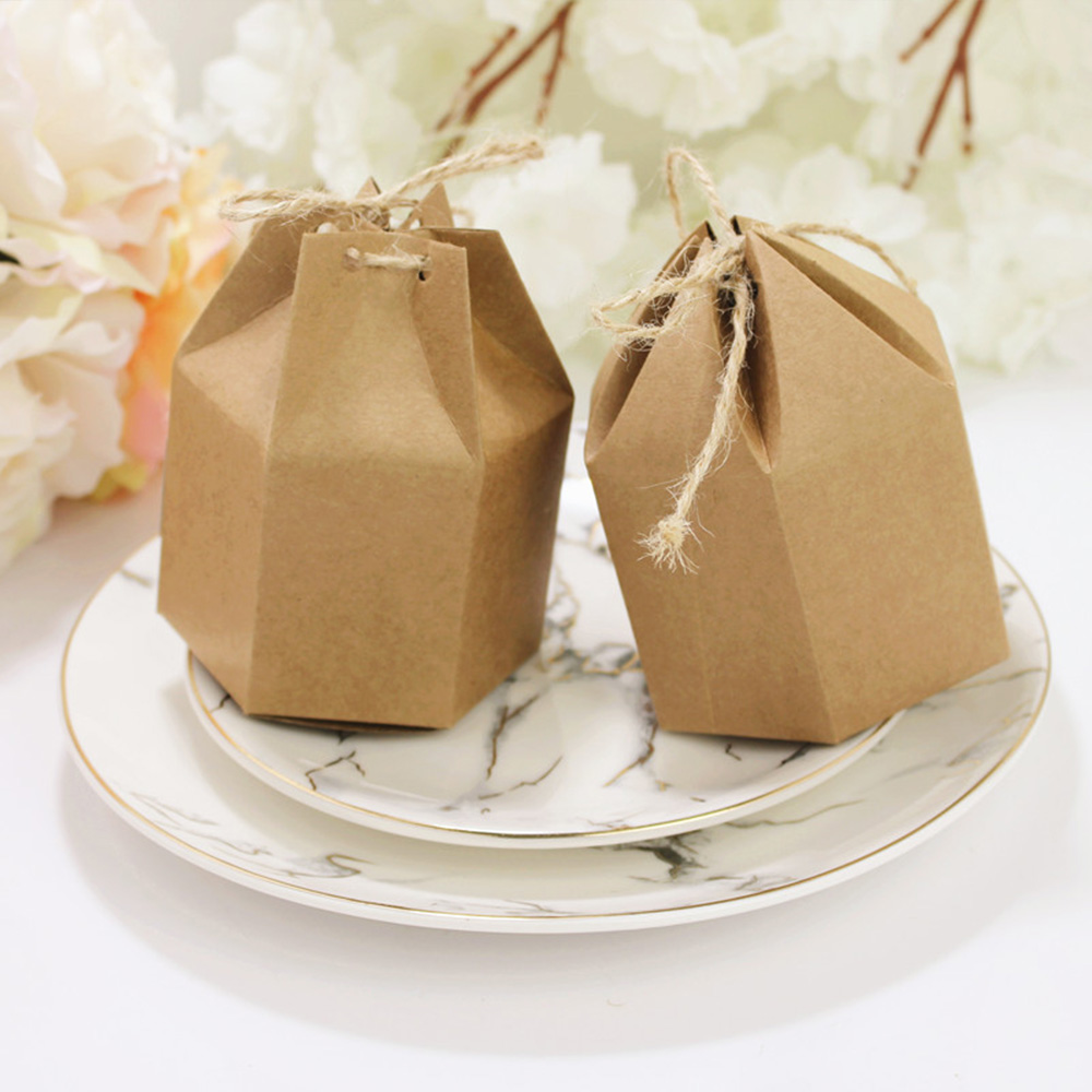 10-50pcs Beauty Kraft Paper Candy Box Gift Present Wedding Birthday Party Candy Packaging Bag Pouch Box