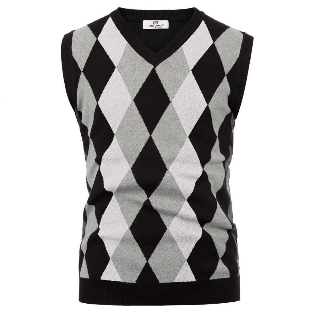 클래식 영국 스타일 남성 니트 탑 스웨터 세련된 민소매 v-목 대비 컬러 슬림 풀오버 조끼 니트 뜨개질 새로운