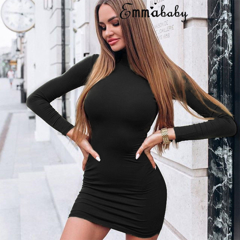 turtleneck long sleeve knitted long Spring dresses women casual sexy bodycon party Mini dress elegant