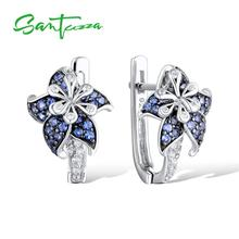 Silver Flower Earrings for Woman Blue White CZ Diamond Pure 925 Sterling party FashionJewelry