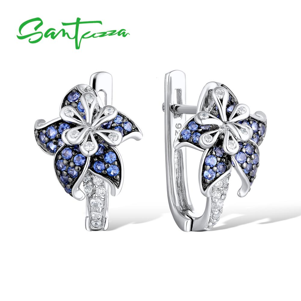 SANTUZZA Silver Earrings For Woman Pure 925 Sterling Silver Blue Star Flower Cubic Zirconia серьги женские Fashion Jewelry-in Stud Earrings from Jewelry & Accessories