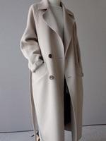 2018 Winter Coat Women Wide Lapel Belt Pocket Wool Blend Coat Oversize Long Trench Coat Outwear Wool Coat Women