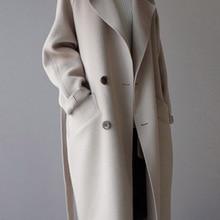 Winter Coat Women Wide Lapel Belt Pocket Wool Blend Coat Ove
