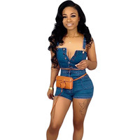 Summer Denim Two Piece Sets Women Single Breasted Strapless Crop Top and Shorts Sexy Jean Club Wear Matching Set Outfits Female