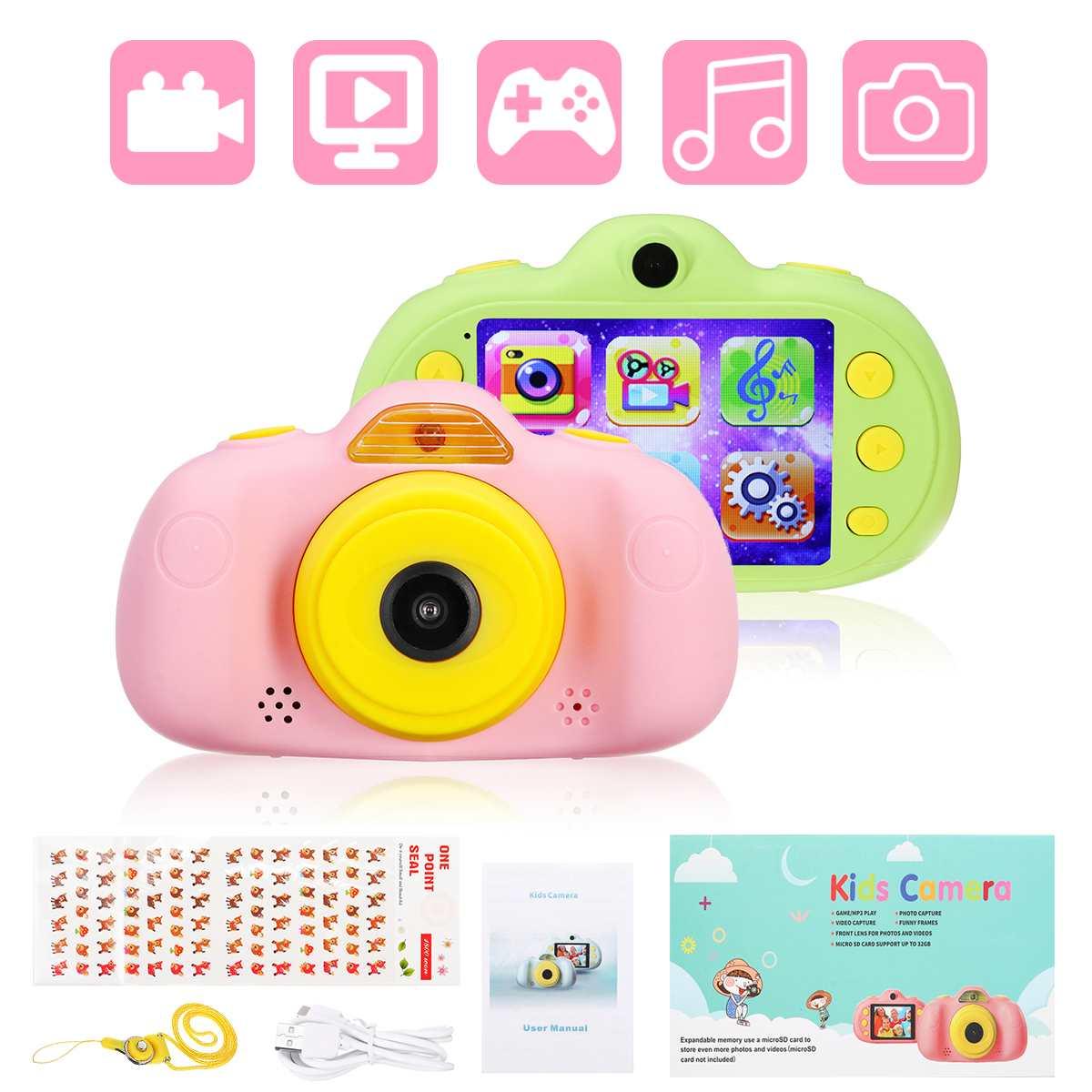 Enfants caméra numérique Full HD 1080 P Mini double lentille enfants caméra 2.4 pouces écran vidéo caméra jouet lecteur de jeu MP3 enfants cadeaux