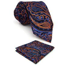 Blue Orange Paisley Silk Mens Neckties Set Fashion Gift Pocket Square Xlong Party