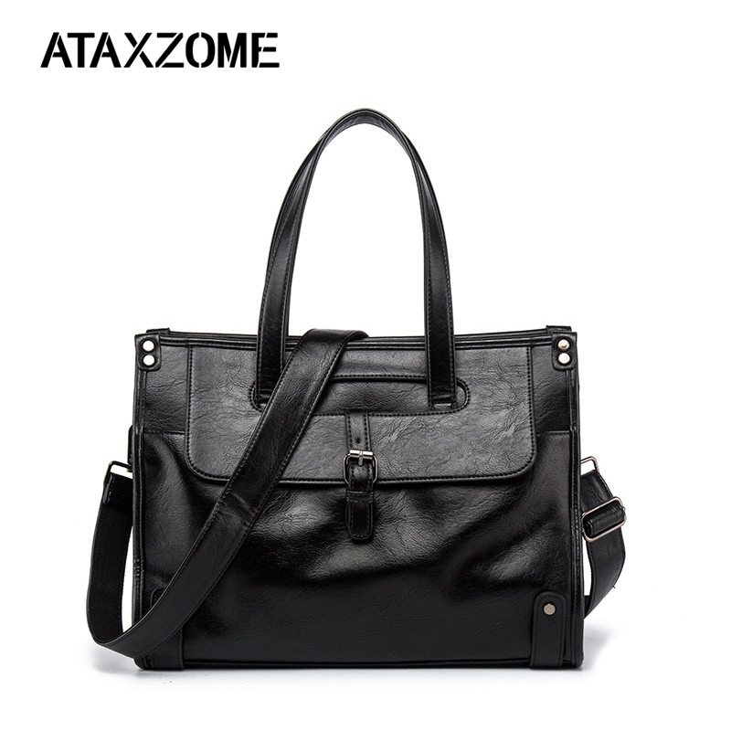 ATAXZOME Men's Briefcase Quality PU Leather Fashion Brand Business Shoulder Strap Bag Large Capacity Laptop Work Bag DS4007B