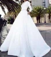 Vivian's Bridal 2018 Vintage Soft Satin Pockets Wedding Dress Sexy Front Back Deep v Illusion Mesh Zipper Long Bridal Dress