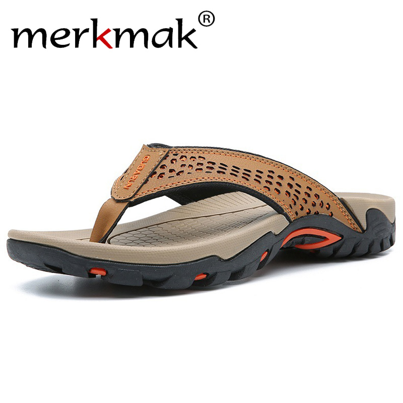 Brand PU Leather Summer Men Slippers Beach Sandals Comfort Men Casual Shoes Fashion Men Flip Flops Hot Sell Footwear 2019 in Flip Flops from Shoes