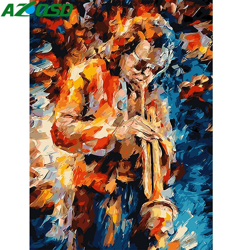 AZQSD DIY Abstract Oil Painting Musical Instruments Painting By Numbers men Paint Canvas Picture Hand Painted Modern K130