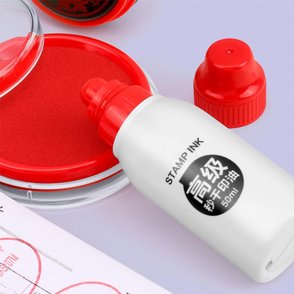 Quick Dry Ink 50ML Pad Seal Red Stamp Refill Bright Color Clear Printing Not Easy To Fade Economical Portable Mini Stamp Pad Ink