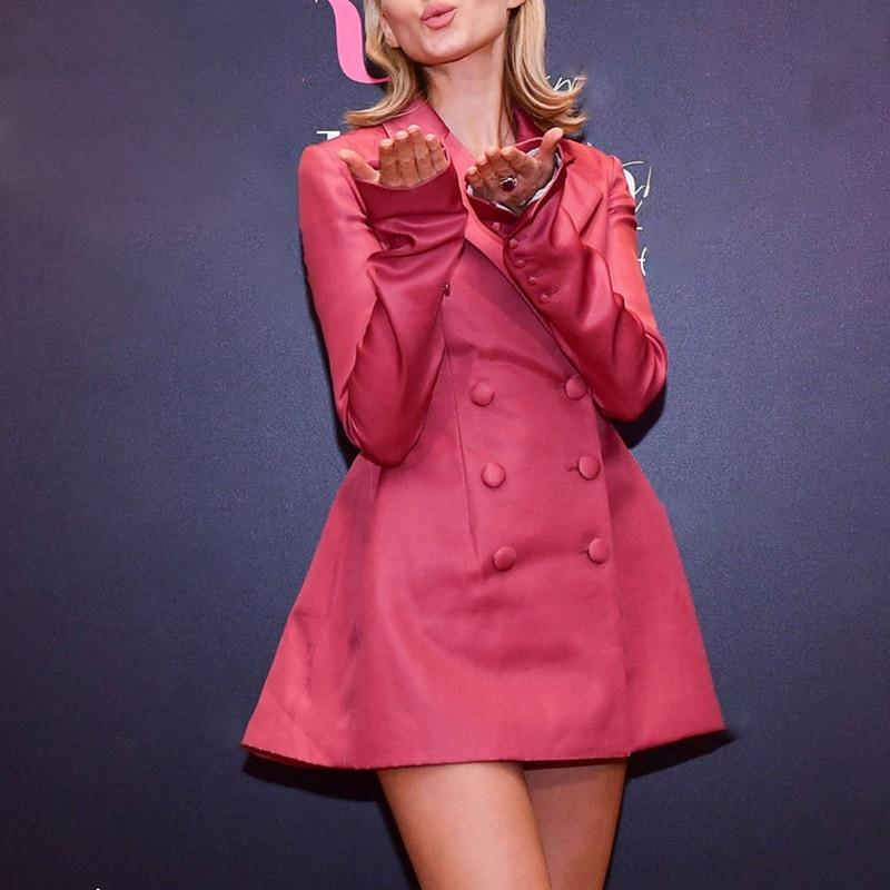 Haute Rose Automne Mode Piste Longues Colour Manteau Costume Rangée De Robe Pink Boucle Deux Manches Qualité Lâche Nouveau Couleur À Femme a8r7qa