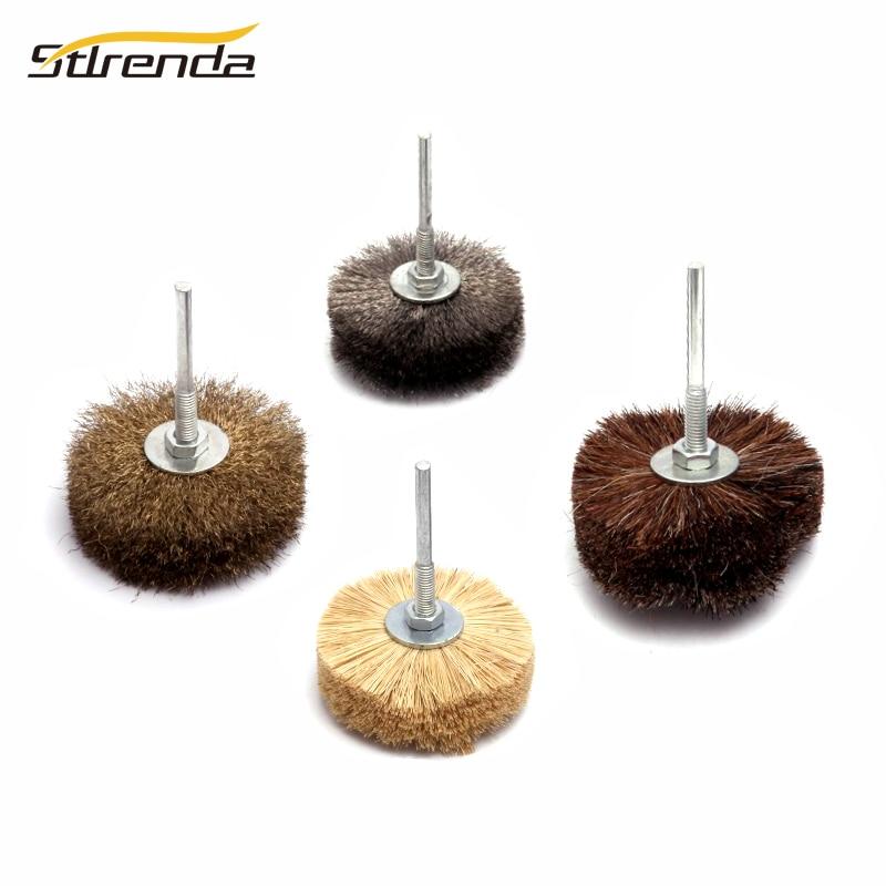 STLRENDA 80mm Polishing Grinding Head Abrasive Wire Wheel Brush Deburring 6*70mm Shank Head Dia.80mm for Power Tools