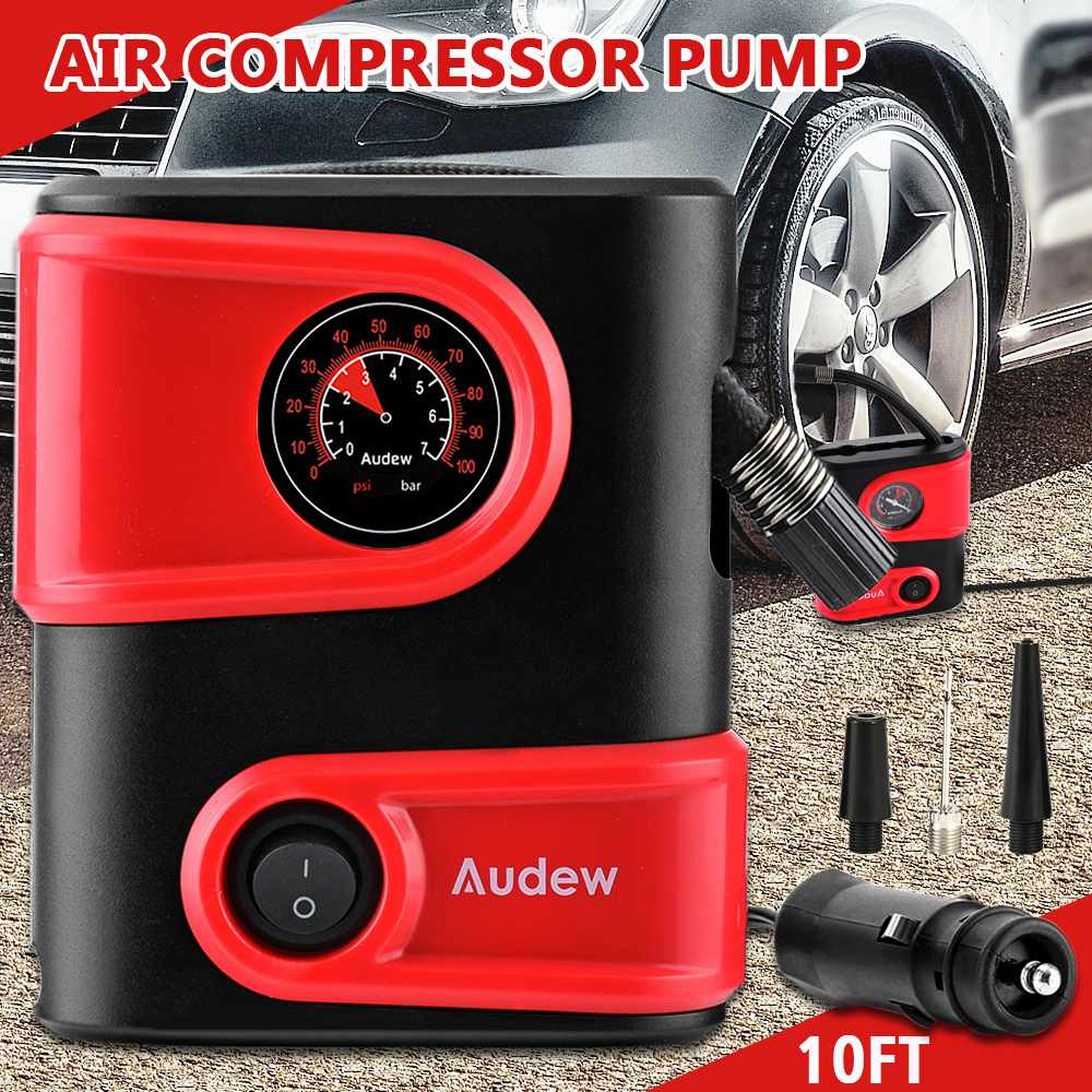 DC12V 100PSI автомобильный воздушный компрессор, надувной насос на выходе, компактный портативный автомобильный насос для шин, насос для автомобильных велосипедов, мотоциклов-in Воздушный насос from Автомобили и мотоциклы